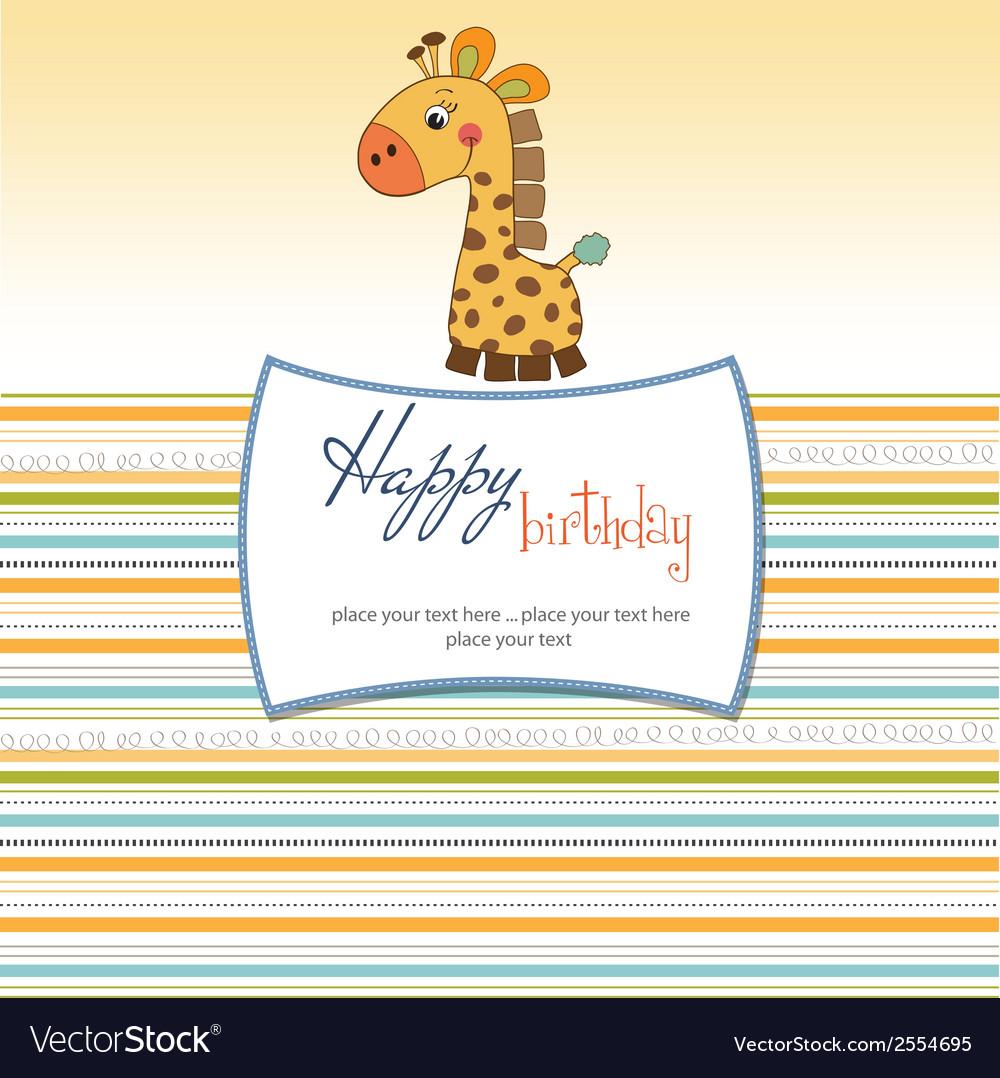 Birthday card with giraffe vector   Price: 1 Credit (USD $1)
