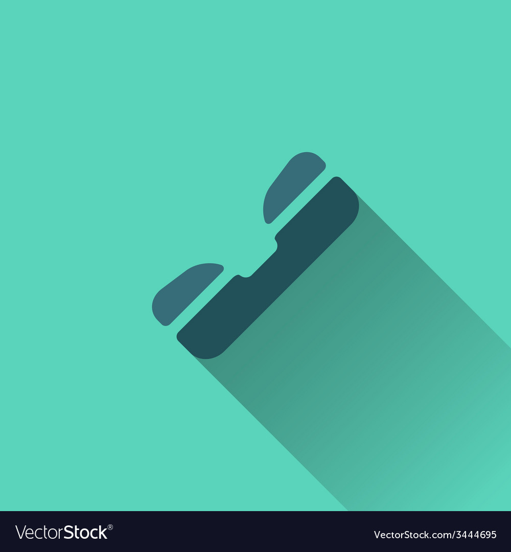 Blue phone icon flat design vector | Price: 1 Credit (USD $1)