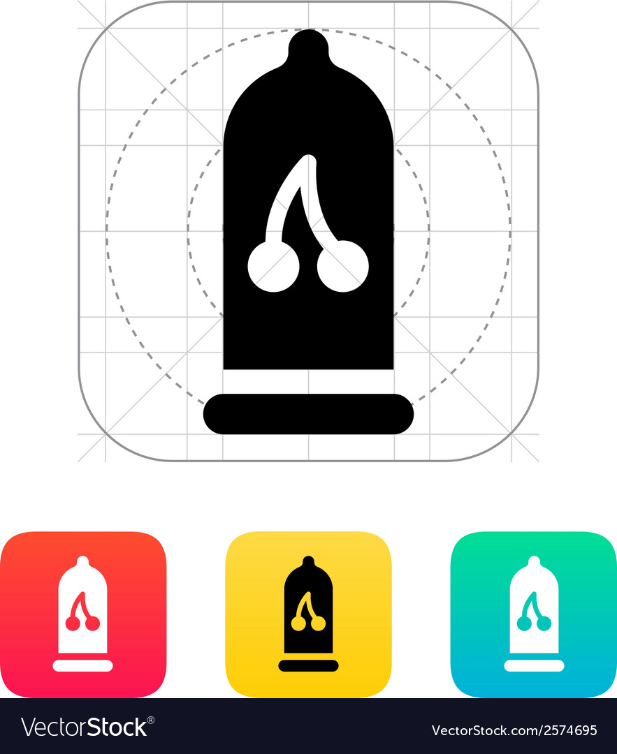 Condom with cherry flavored icon vector | Price: 1 Credit (USD $1)