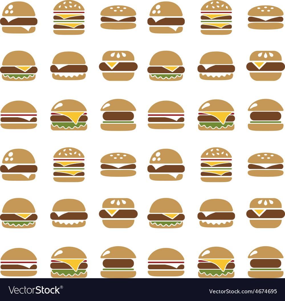 Hamburger seamless pattern vector | Price: 1 Credit (USD $1)