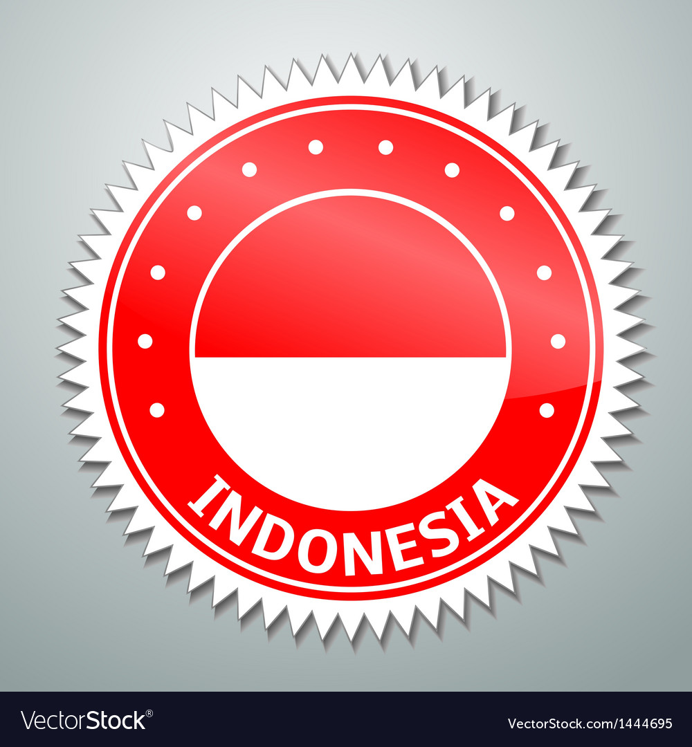 Indonesian flag label vector | Price: 1 Credit (USD $1)
