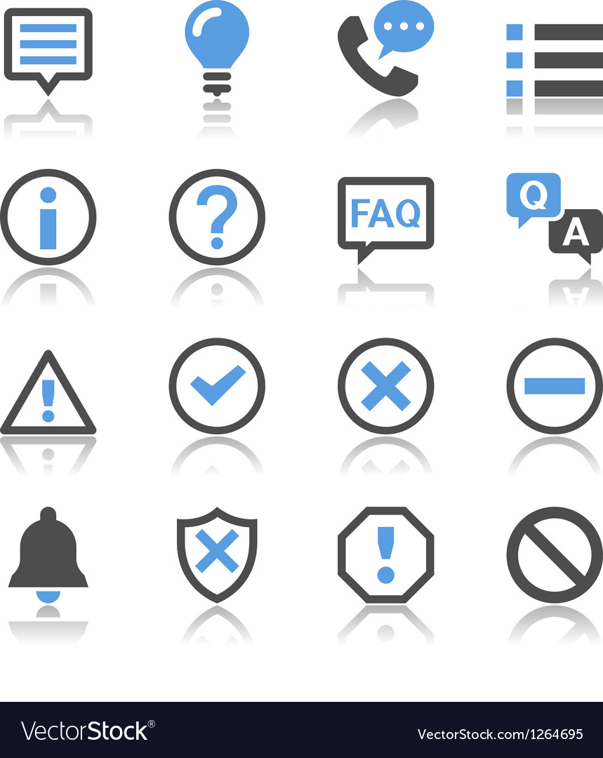 Information and notification icons reflection vector | Price: 1 Credit (USD $1)