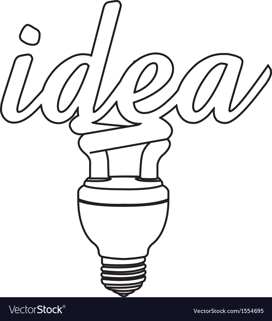 Light bulb idea outline vector | Price: 1 Credit (USD $1)