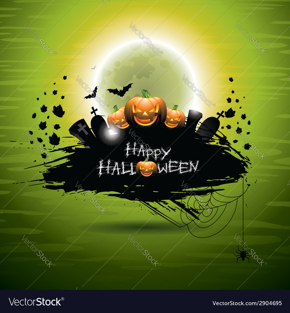On a halloween theme on green backgro vector | Price: 3 Credit (USD $3)