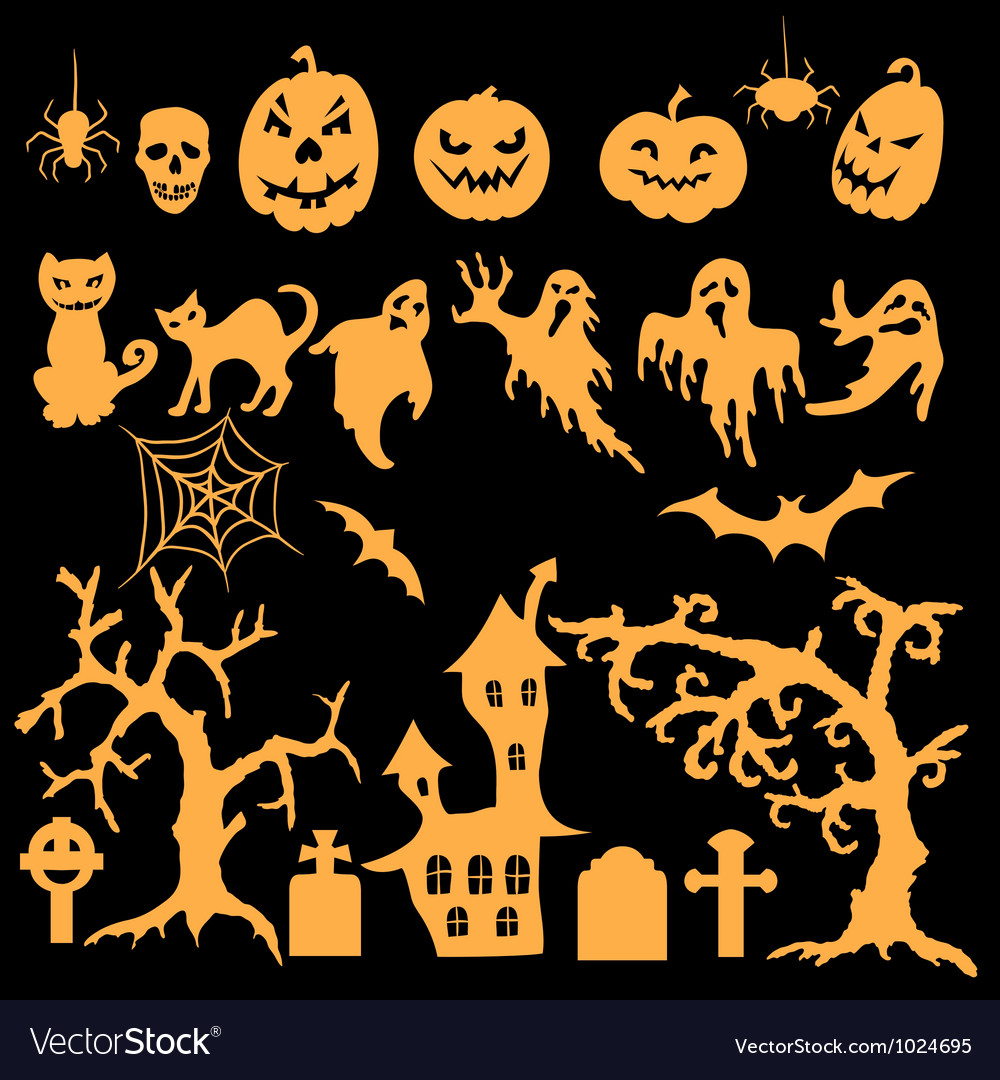 Set of halloween silhouettes vector | Price: 1 Credit (USD $1)