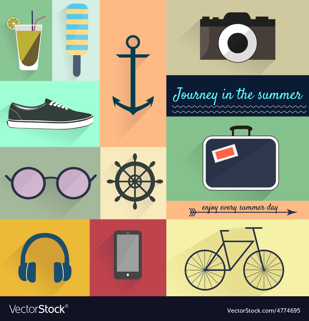 Set of summer design elements vector   Price: 1 Credit (USD $1)