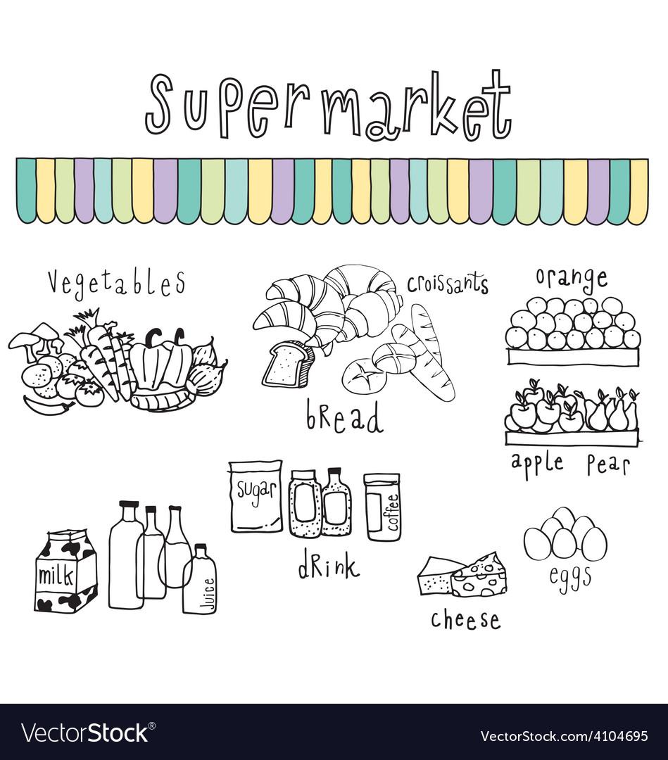 Supermarket doodle white vector | Price: 1 Credit (USD $1)