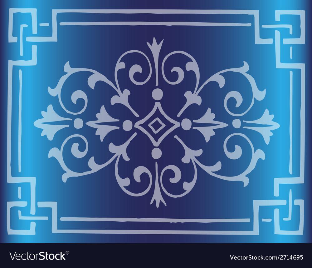 Vintage dark blue background design with border vector | Price: 1 Credit (USD $1)