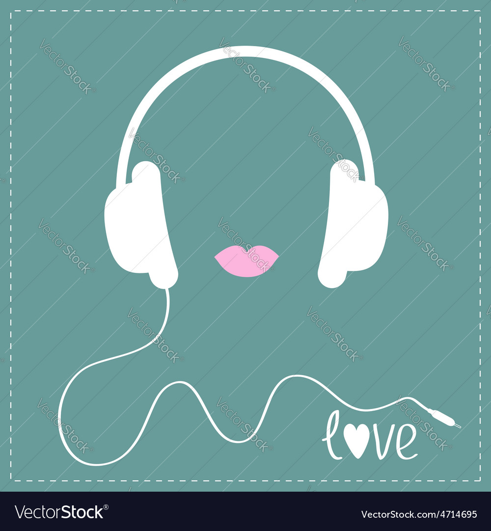 White headphones with cord pink lips love music vector | Price: 1 Credit (USD $1)