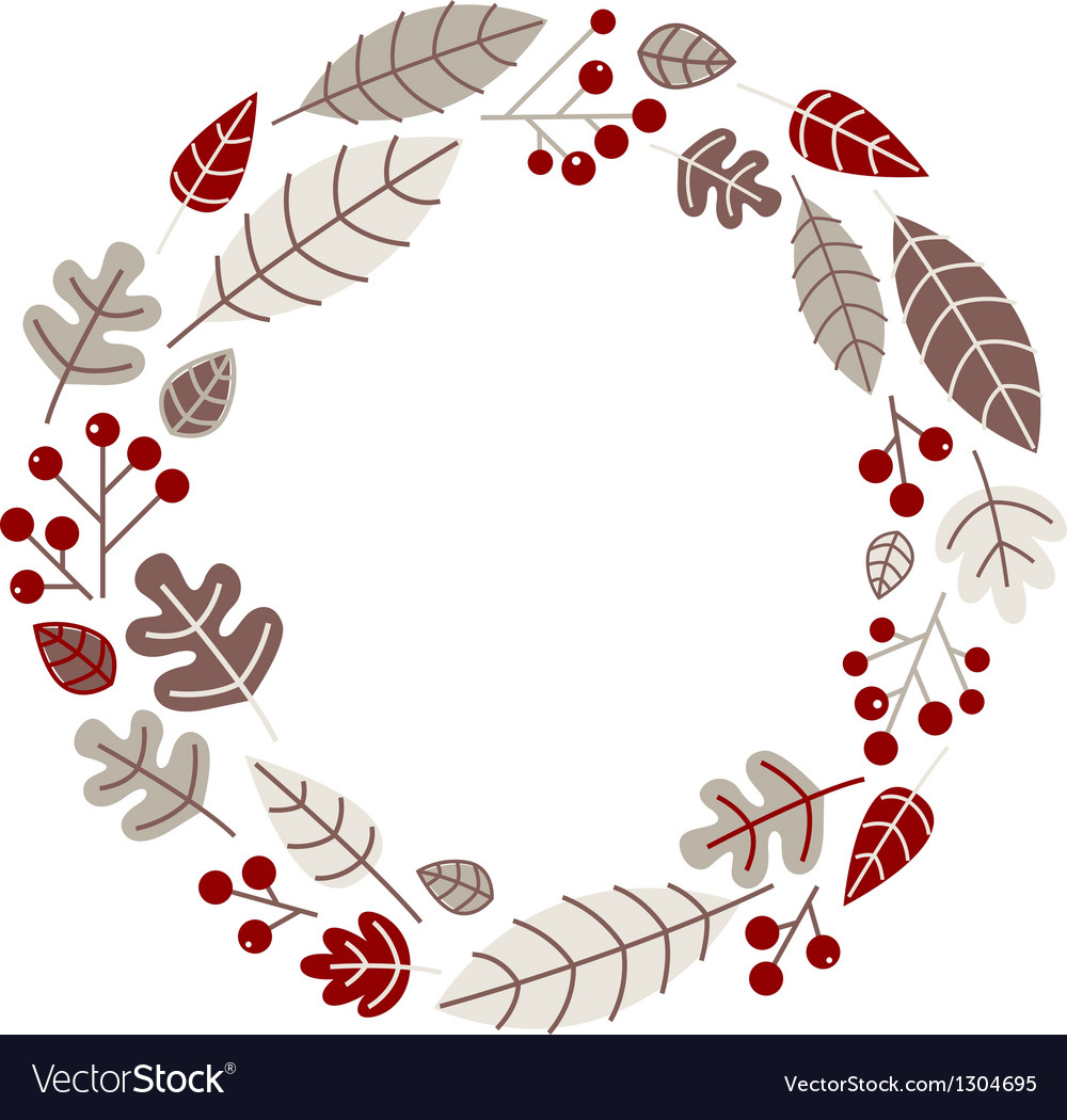Xmas retro holiday wreath isolated on white vector | Price: 1 Credit (USD $1)