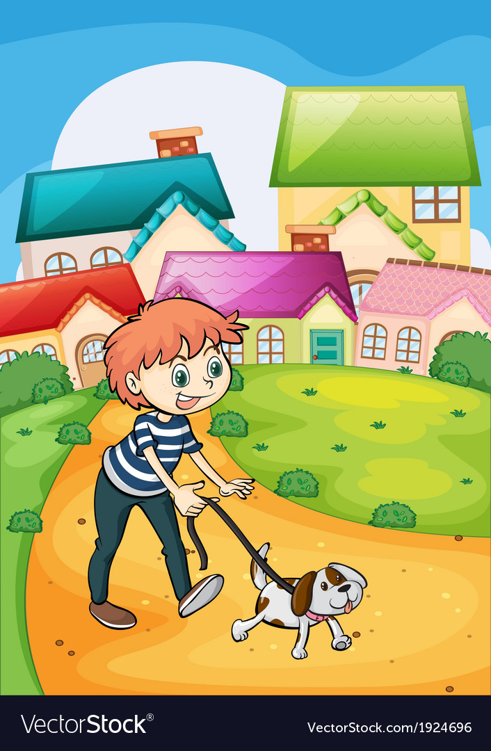 A boy strolling with his pet vector | Price: 3 Credit (USD $3)