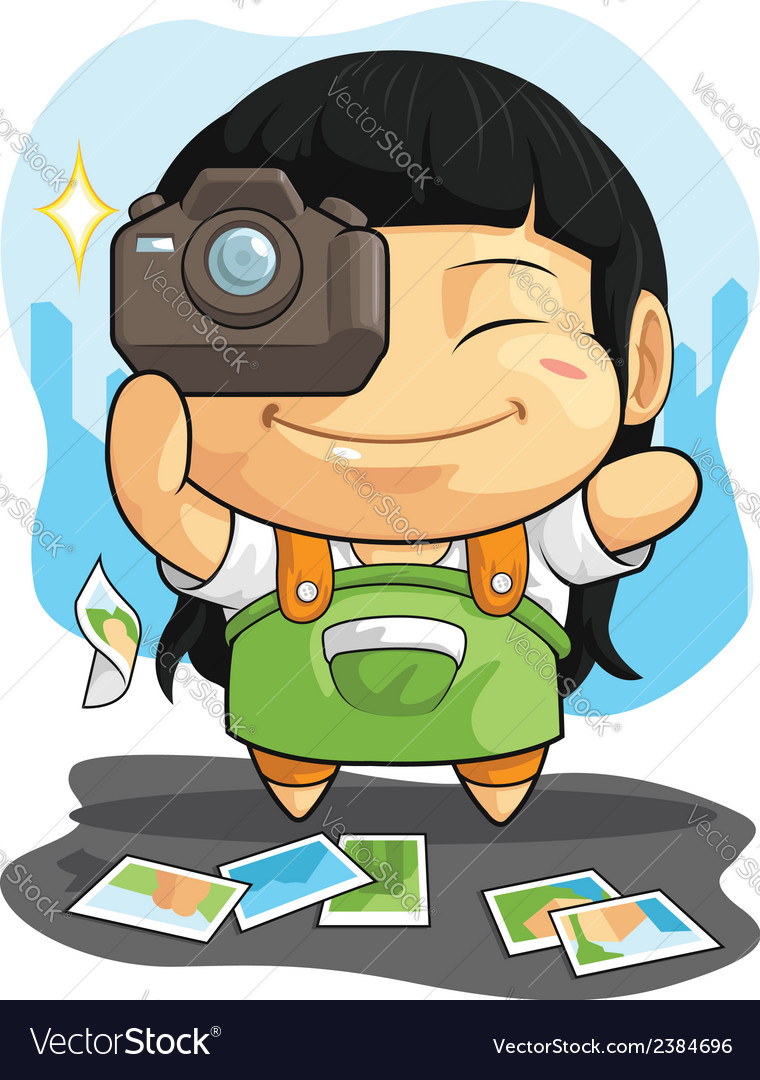 Cartoon of girl loves photography vector | Price: 1 Credit (USD $1)