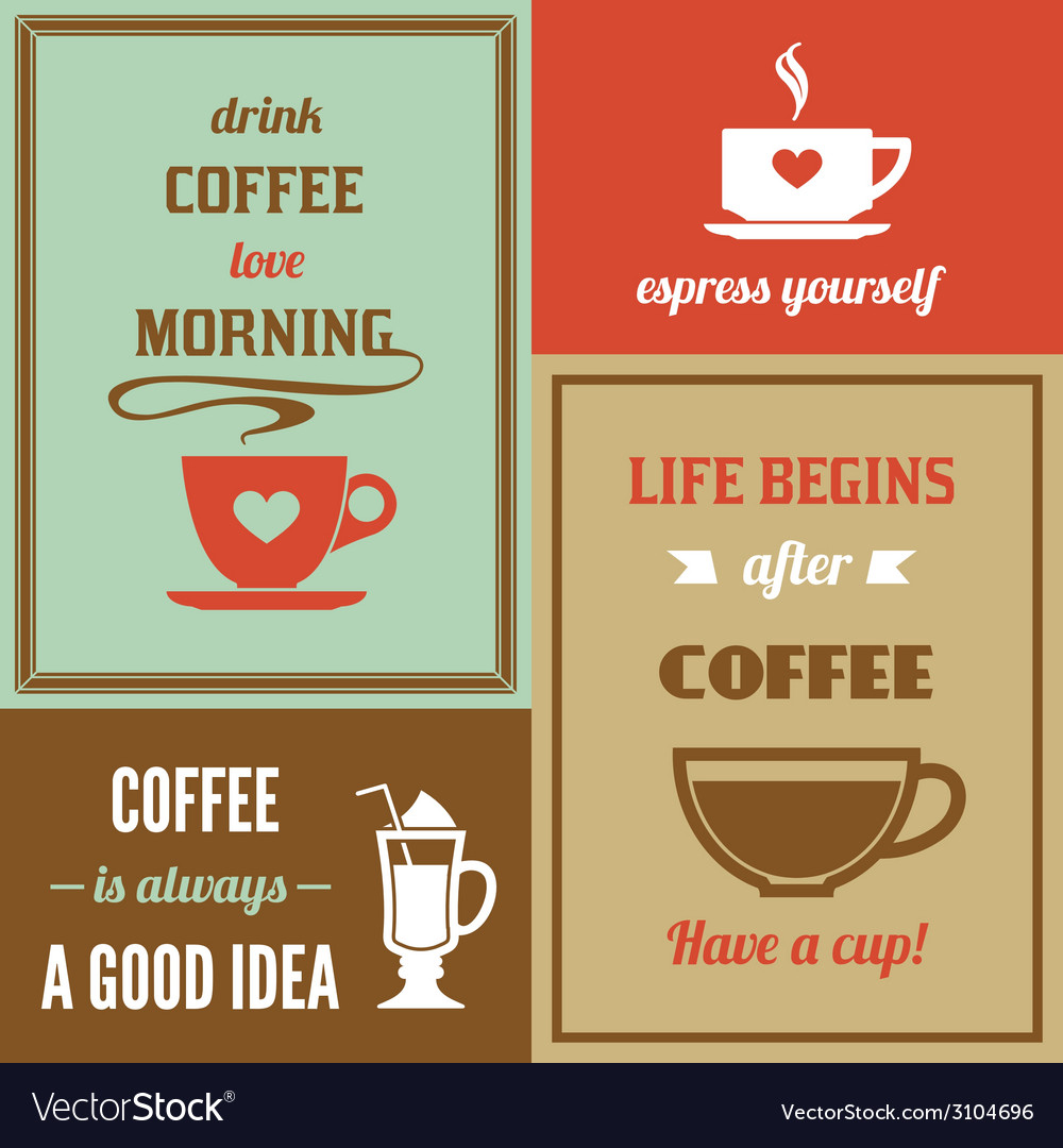 Coffee mini poster set vector | Price: 1 Credit (USD $1)