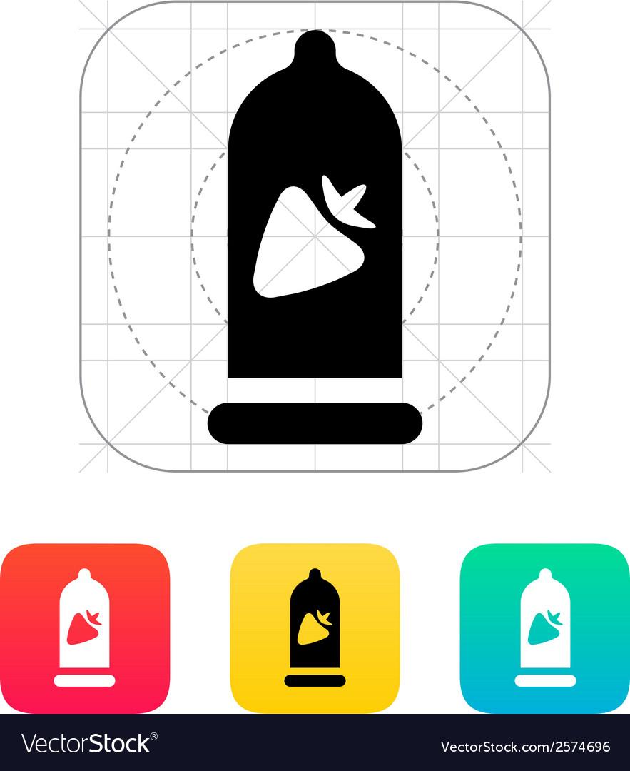 Condom with strawberry flavored icon vector | Price: 1 Credit (USD $1)