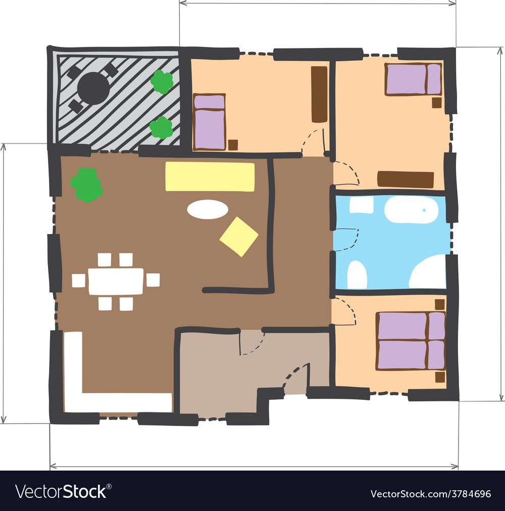 Floor plan of house colored doodle style vector | Price: 1 Credit (USD $1)