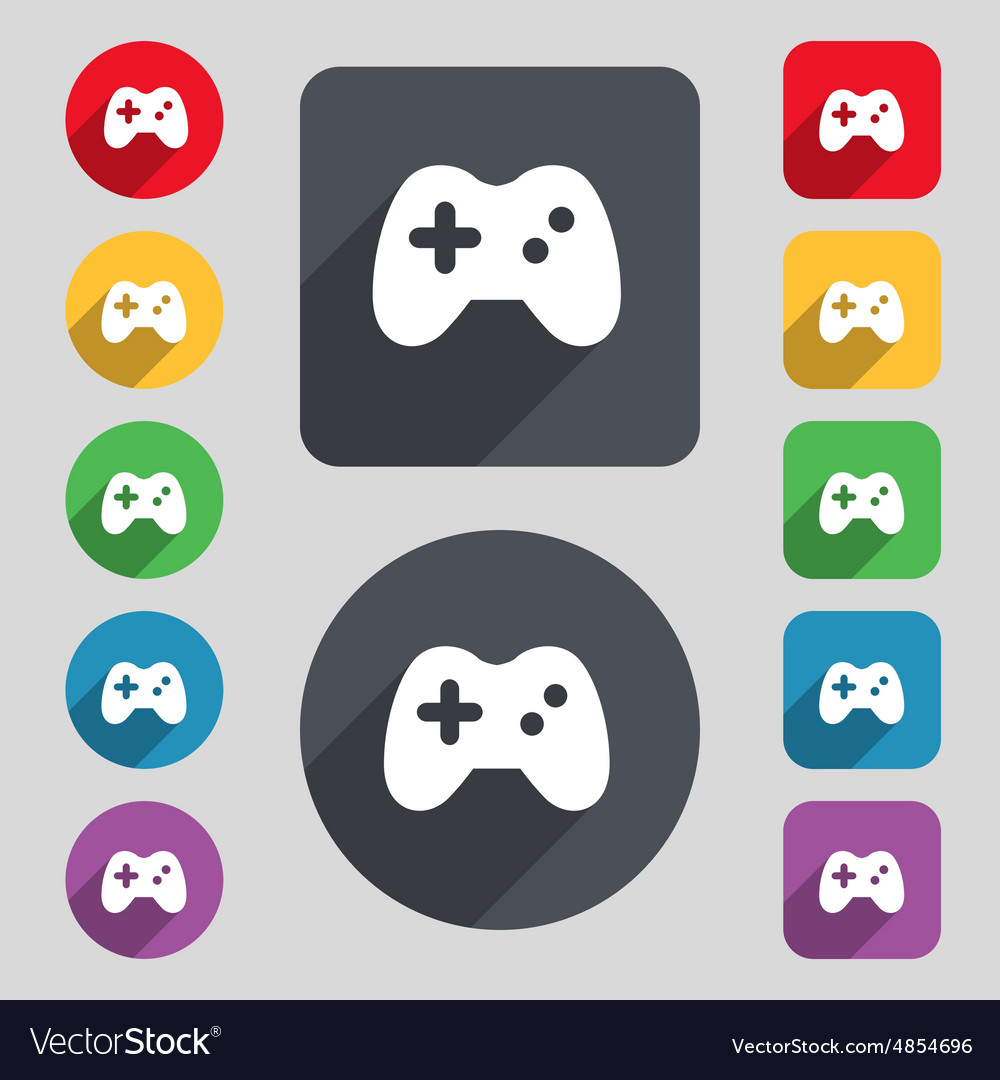 Joystick icon sign a set of 12 colored buttons and vector