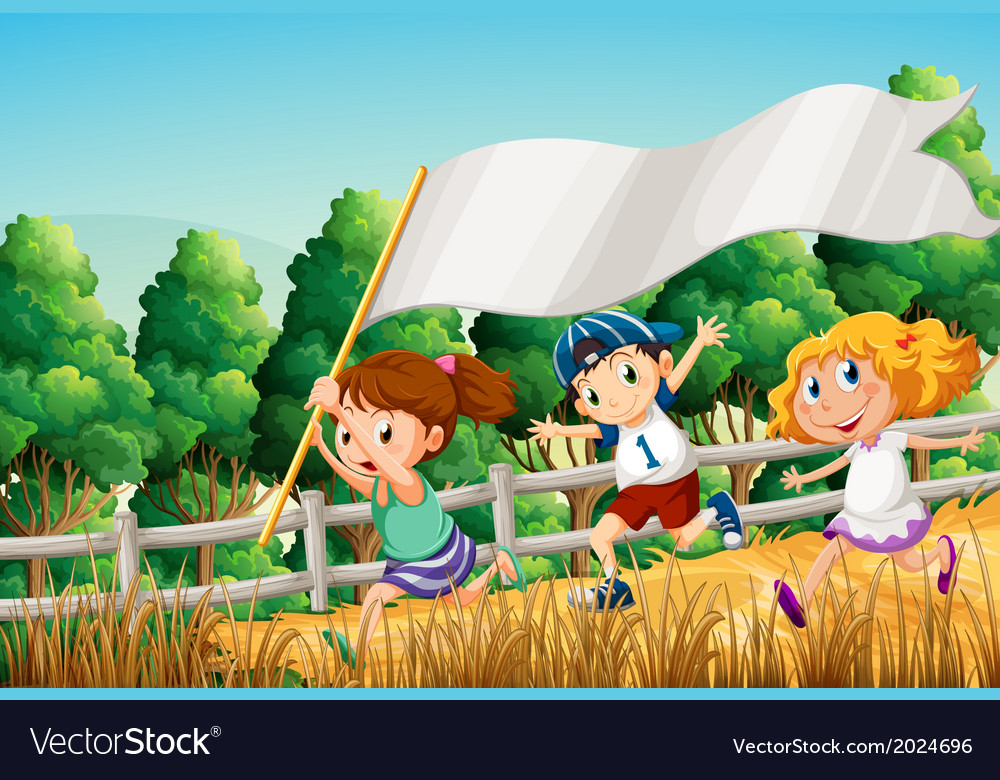 Kids at the woods with an empty banner vector | Price: 3 Credit (USD $3)