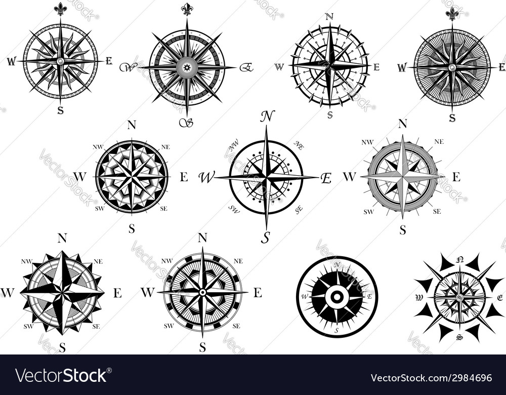 Nautical wind rose and compass icons set vector | Price: 1 Credit (USD $1)