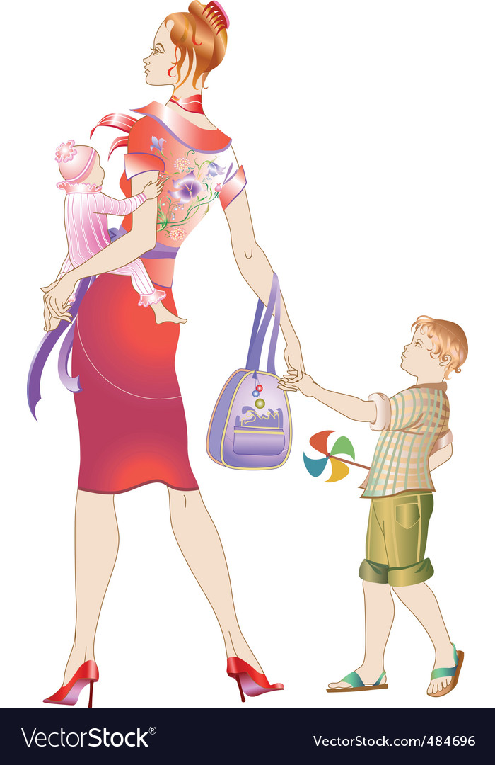Walking her children's vector | Price: 1 Credit (USD $1)