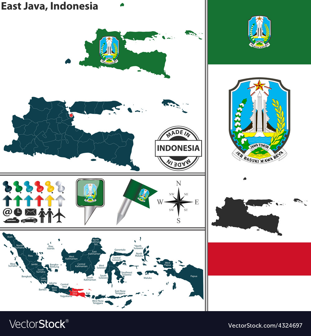 Map of east java vector | Price: 1 Credit (USD $1)
