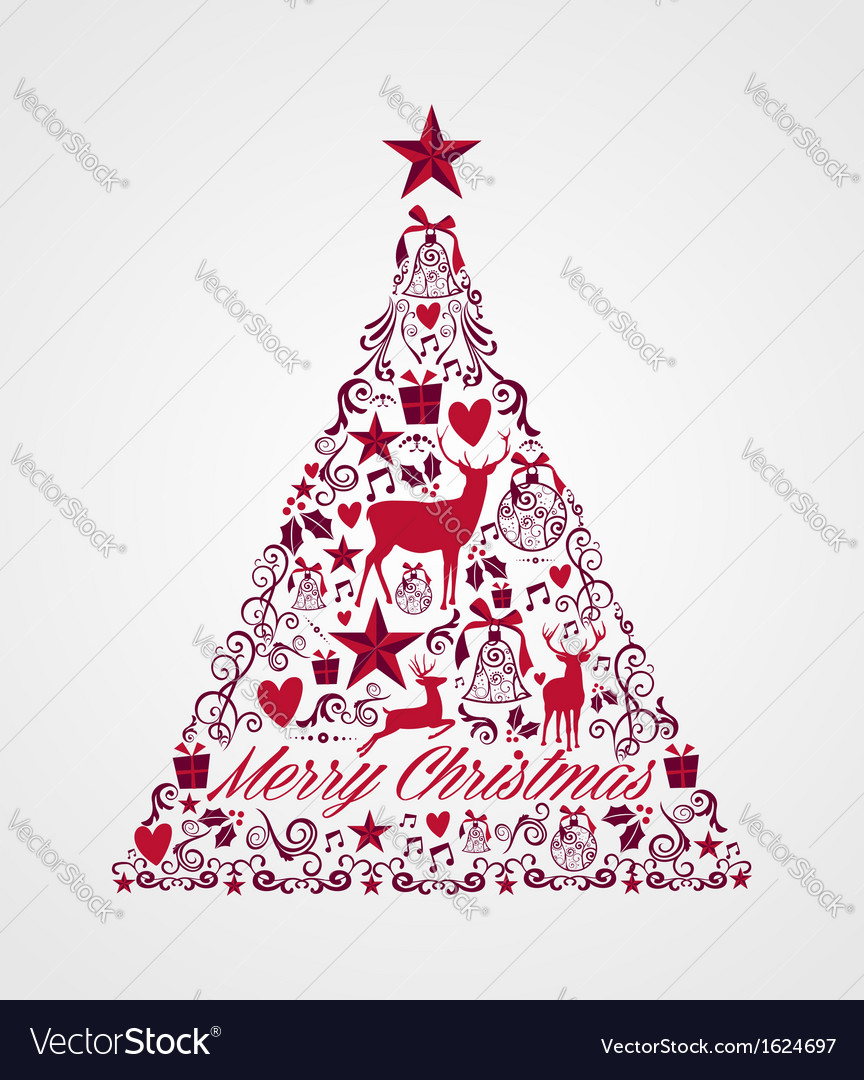 Merry christmas tree shape full of elements vector | Price: 1 Credit (USD $1)