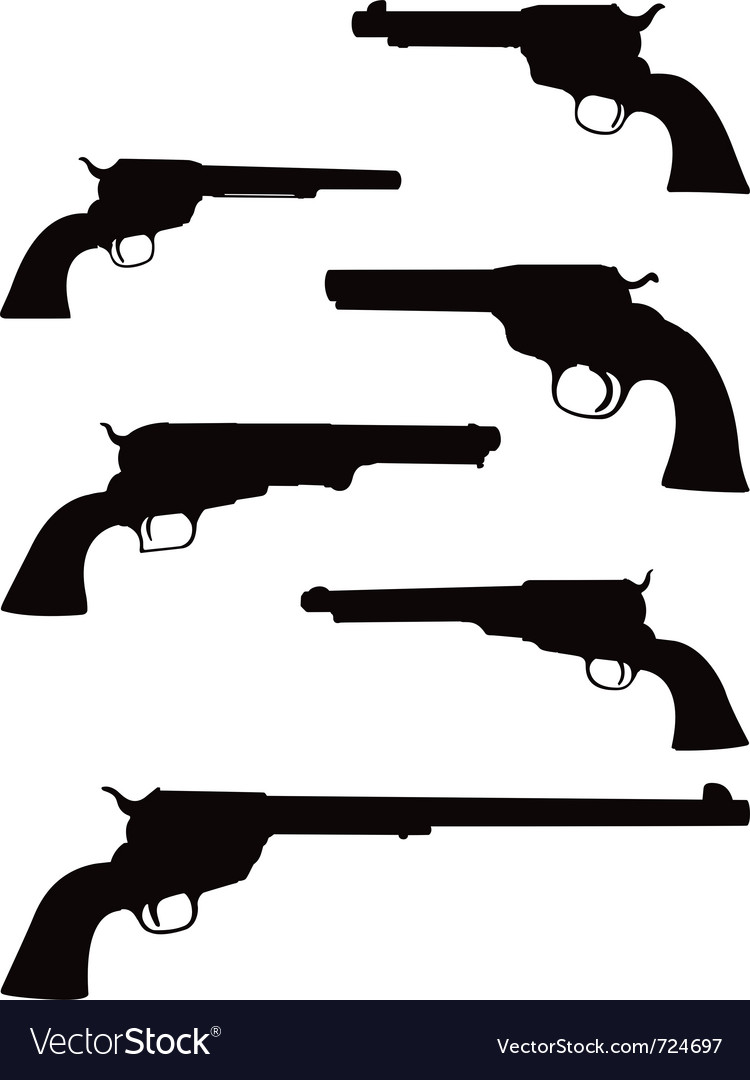 Pistol silhouettes vector | Price: 1 Credit (USD $1)