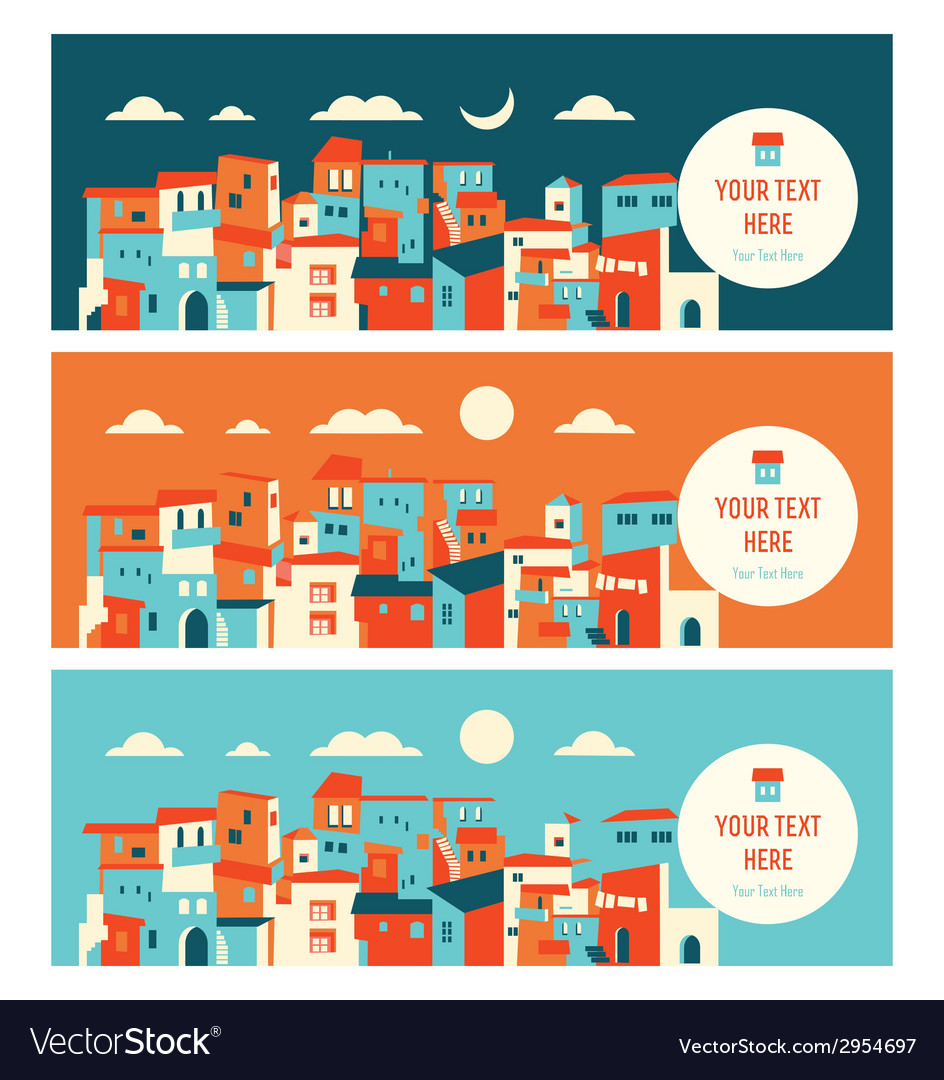 Seaside city in day and night landscape vector | Price: 1 Credit (USD $1)