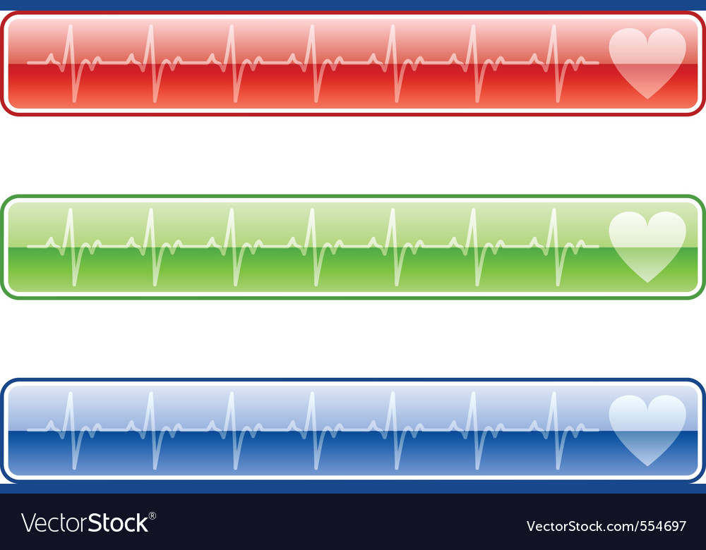 Three ekg buttons in various colors vector | Price: 1 Credit (USD $1)