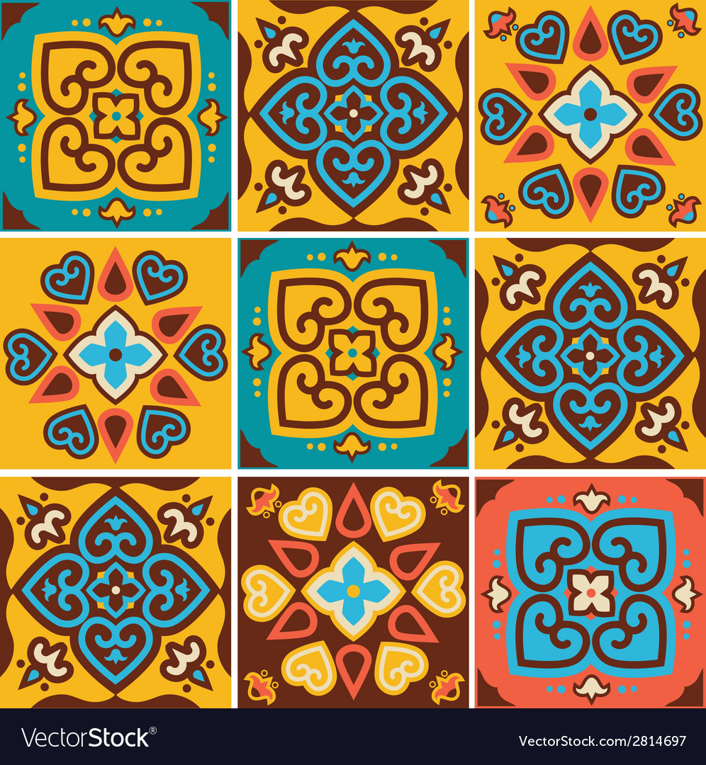 Traditional ceramic tiles patterns vector | Price: 1 Credit (USD $1)