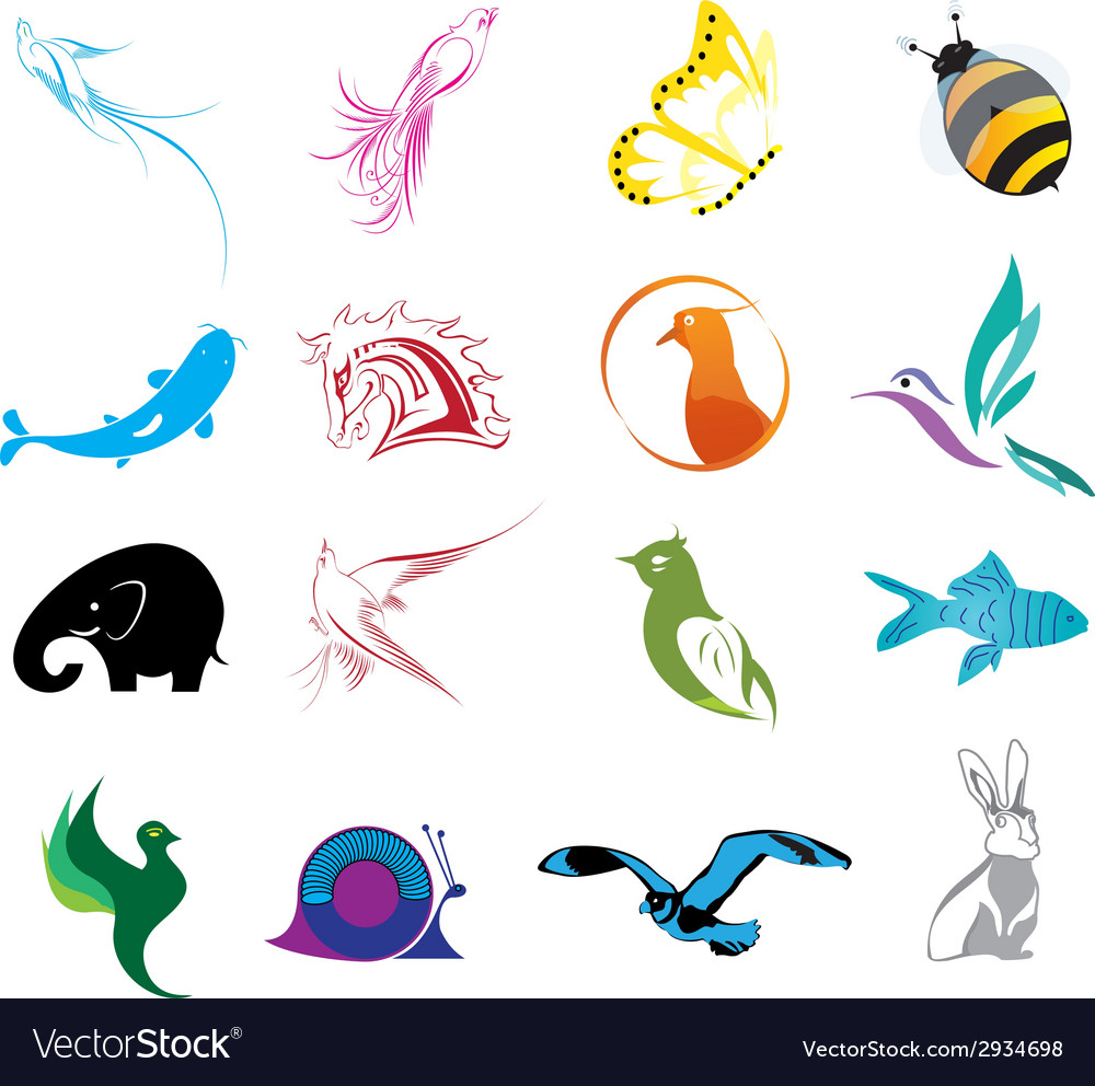 Animal logo icons set vector | Price: 1 Credit (USD $1)