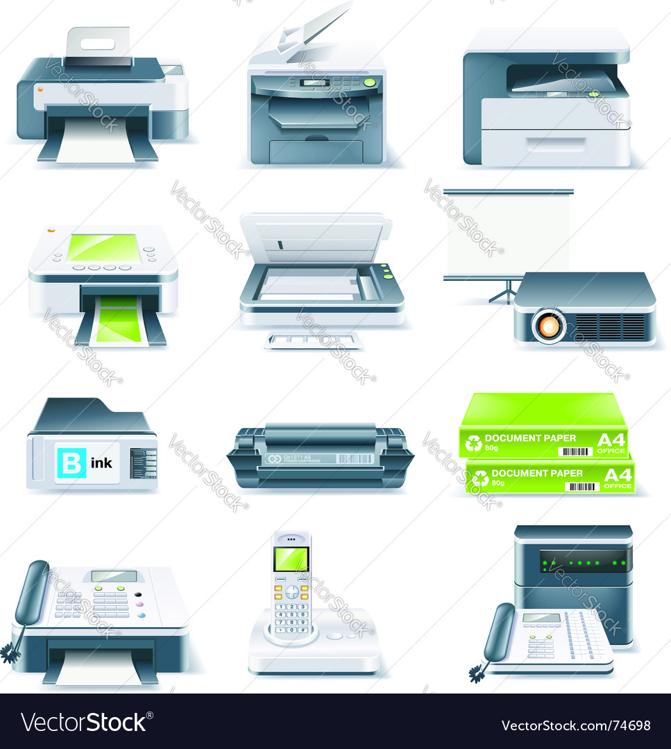 Computer parts icon set vector | Price: 3 Credit (USD $3)