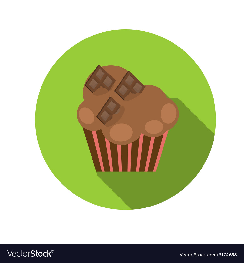 Flat design concept cupcake with long shadow vector | Price: 1 Credit (USD $1)