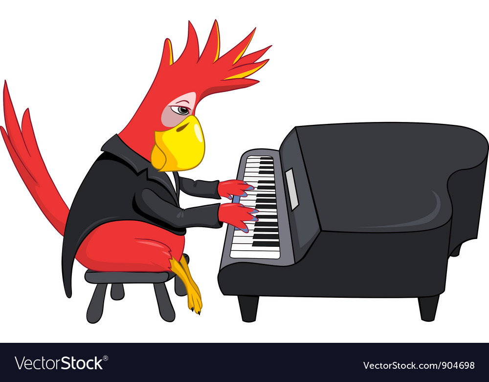 Funny parrot pianist vector | Price: 3 Credit (USD $3)