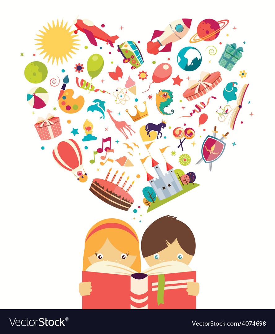 Imagination concept boy and girl reading a book vector   Price: 1 Credit (USD $1)