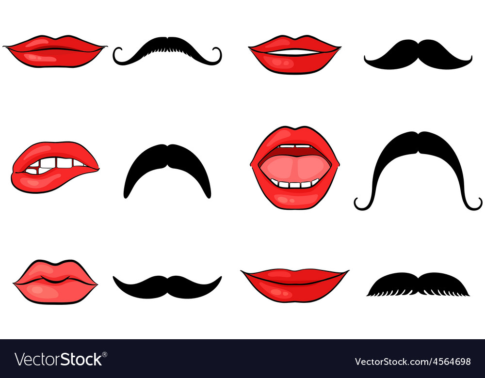 Lady lips and gentleman mustaches vector | Price: 1 Credit (USD $1)