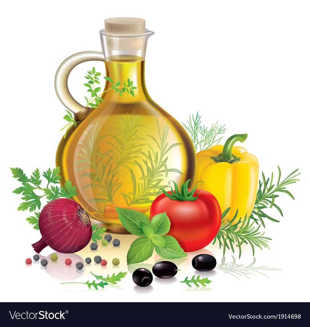 Olive oil and vegetables vector | Price: 1 Credit (USD $1)