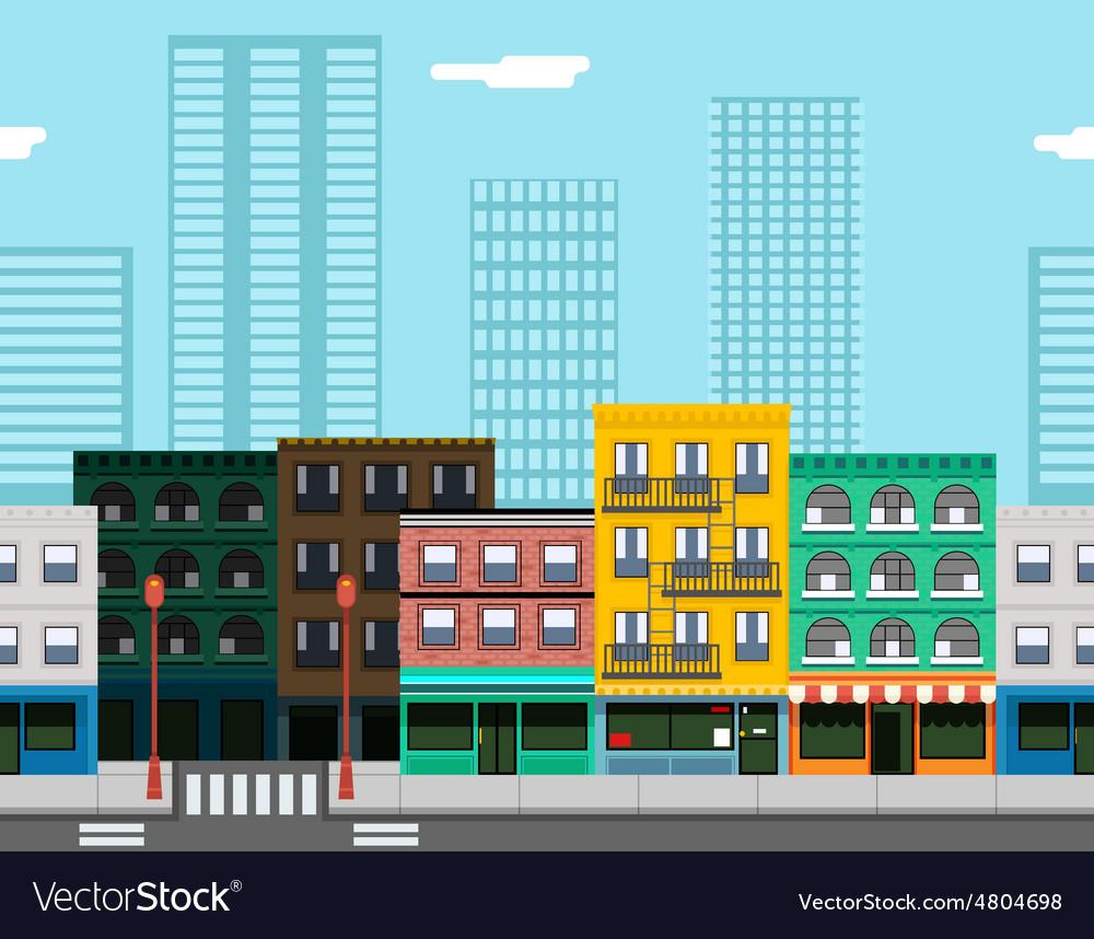 Seamless city street concept flat design town vector