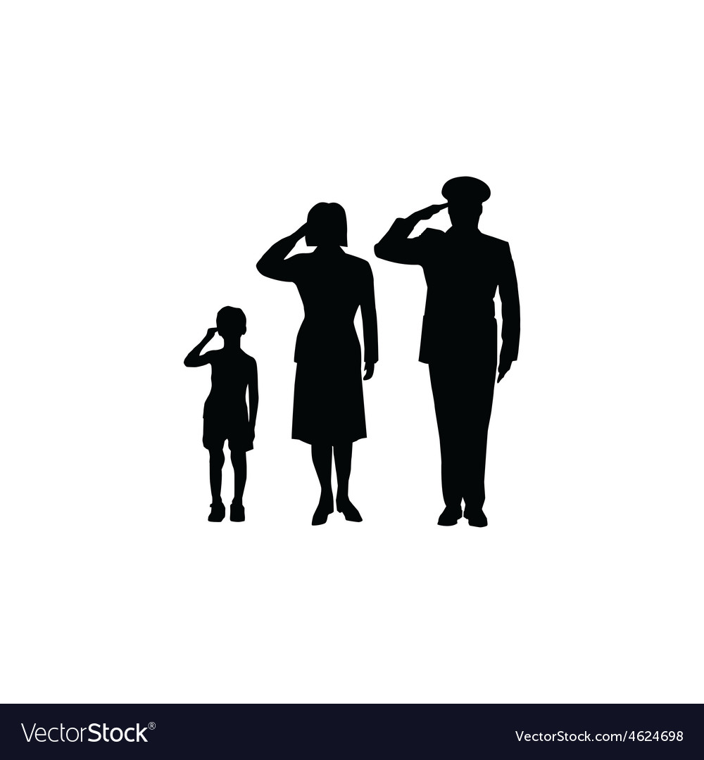 Soldier family salute vector | Price: 1 Credit (USD $1)