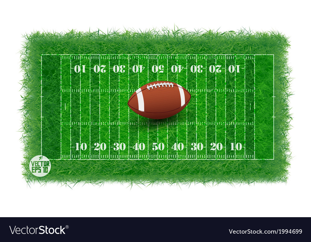 American football field with real grass textured vector | Price: 1 Credit (USD $1)