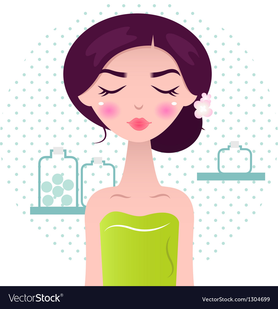 Beautiful spa women in green towel and bath access vector | Price: 1 Credit (USD $1)