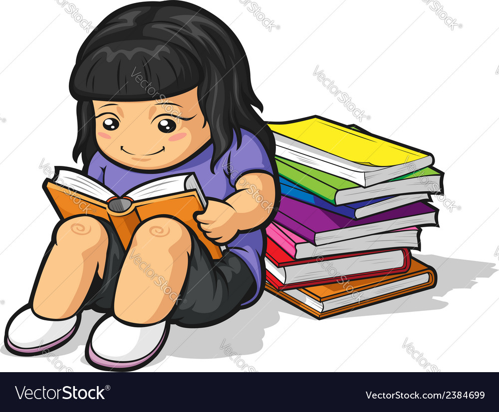 Cartoon of girl student studying reading book vector   Price: 1 Credit (USD $1)