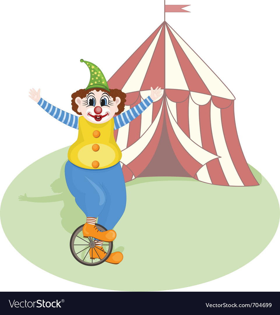 Cheerful clown unicycling vector | Price: 1 Credit (USD $1)