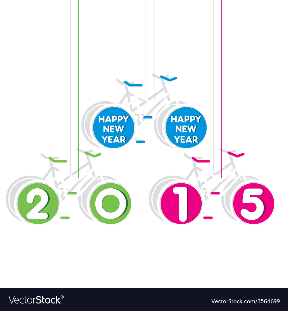 Colorful bicycle theem new year 2015 design vector | Price: 1 Credit (USD $1)