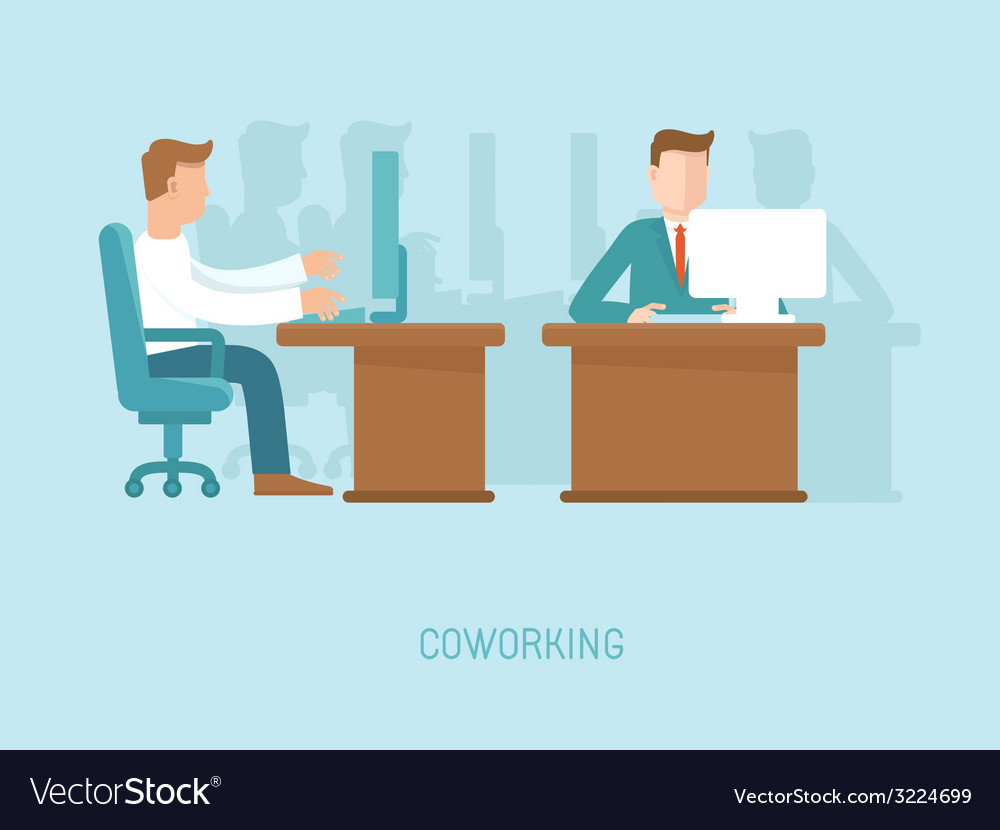 Coworking concept in flat style vector | Price: 1 Credit (USD $1)