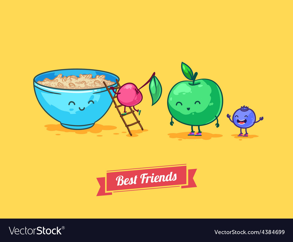 Funny cartoon fruit diet porridge and vector