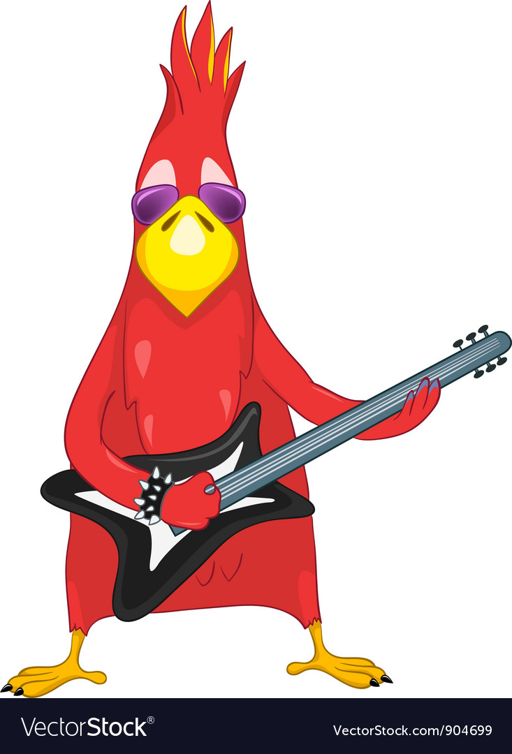 Funny parrot rock star vector | Price: 3 Credit (USD $3)