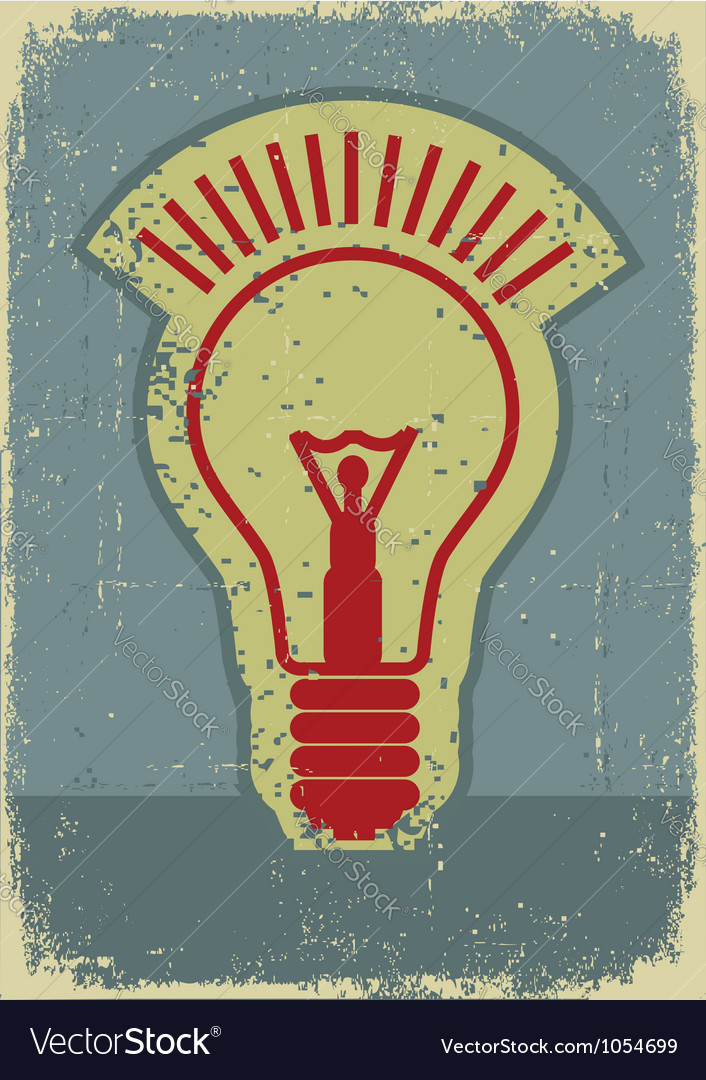 Idea lampgrunge symbol of light bulb on old paper vector | Price: 1 Credit (USD $1)