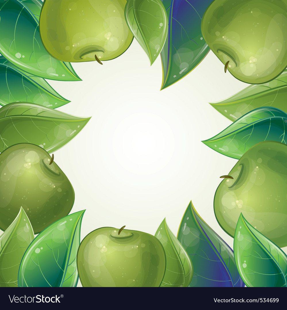 Leaves and green apple frame vector | Price: 1 Credit (USD $1)