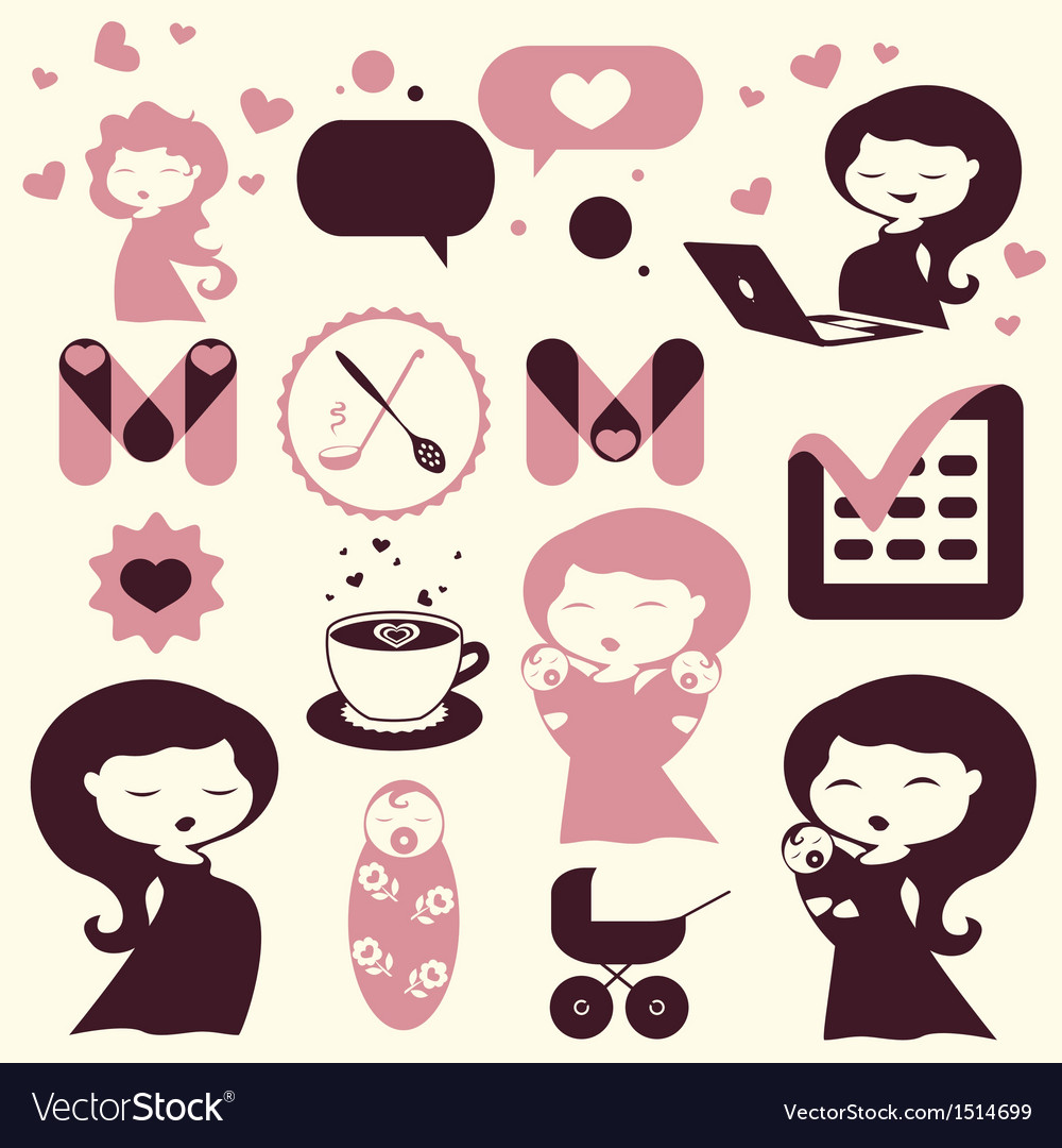 Maternity cartoon icons vector | Price: 3 Credit (USD $3)