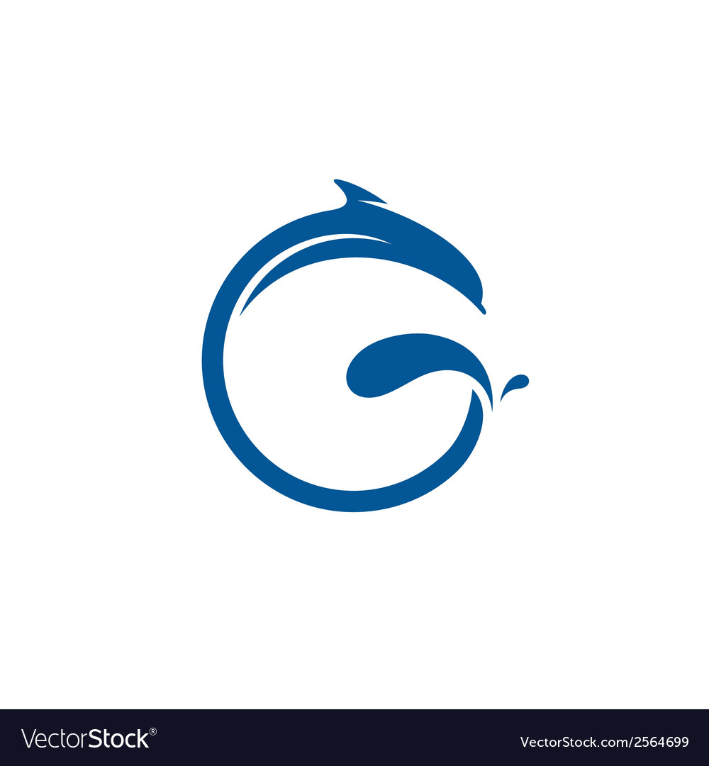 Sign the letter g dolphin vector | Price: 1 Credit (USD $1)